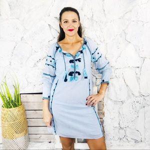 Boutique Boho Tassel Embroidered Shift Dress M
